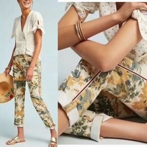 Anthropologie Chino Relaxed Fit Bird Leaf Pants